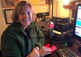 A club member in the studio for an on air contest