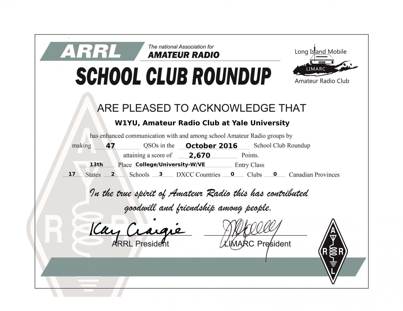 W1YU 2016 ARRL School Round Up Certificate